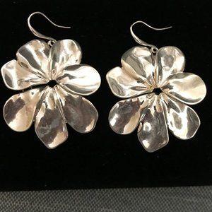 Robert Lee Morris Hinged Silver Flowered Earrings